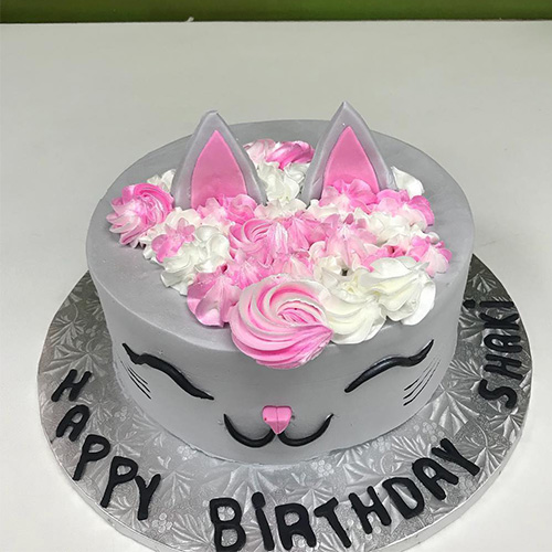 Grey Cat Custom Birthday Cake