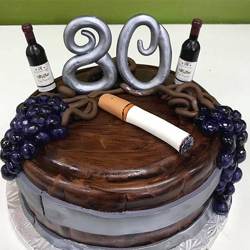 Cigarette Wine Custom Birthday Cake