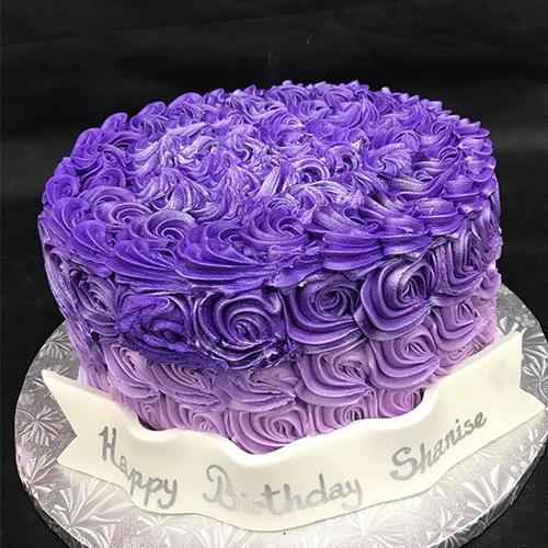 Purple Swirls Buttercream Birthday Cake