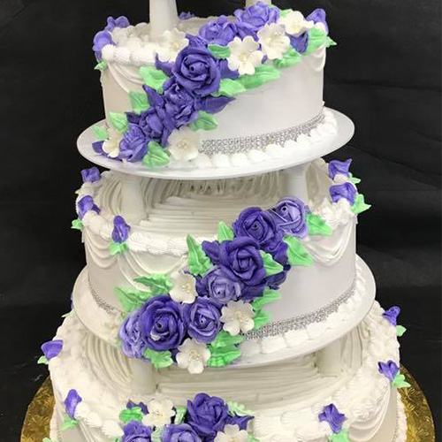 Buttercream Wedding Cakes And Desserts: Colorful Flowers Vanilla Buttercream Wedding Cake