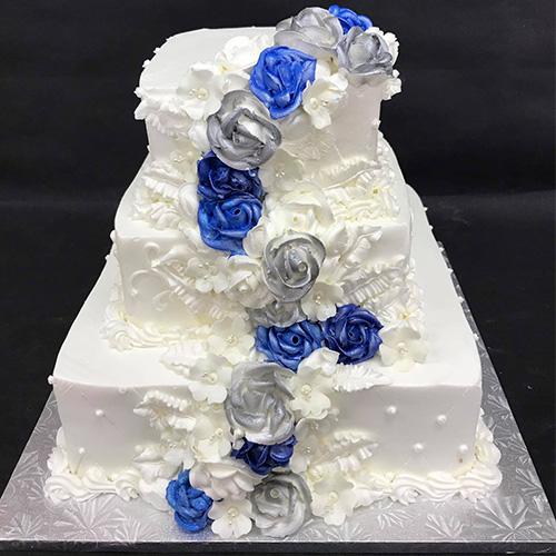 Blue Silver Flowers Wedding Cake Gourmet Desserts Nj Local Bakery