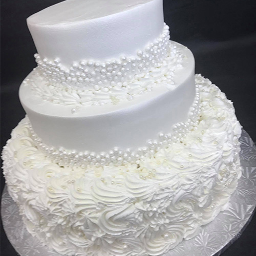 Elegant White Peals Wedding Cake Gourmet Desserts Nj Local Bakery