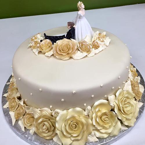 Wedding Cake Recipe Custom History: Golden Flowers Custom Wedding Cake - Gourmet Desserts