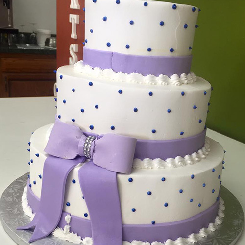 Buttercream Wedding Cakes And Desserts: Lilac Bow Buttercream Wedding Cake - Gourmet Desserts