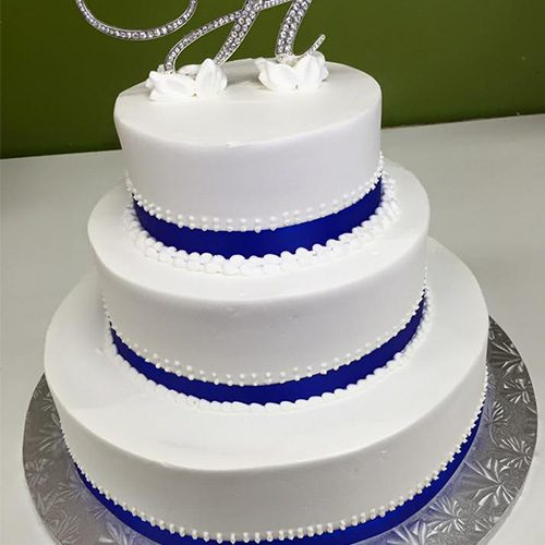 Navy Blue Ribbon Custom Wedding Cake Gourmet Desserts Nj Local