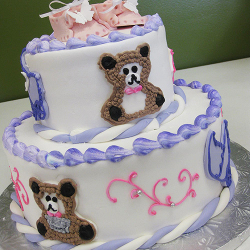 Baby Shoes Teddy Bear Shower Cake