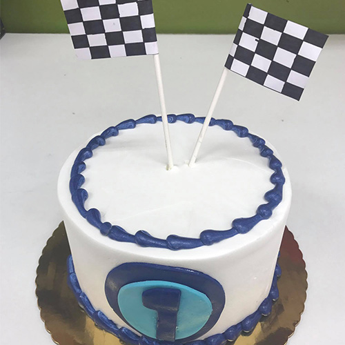 Racing Flags Birthday Smash Cake