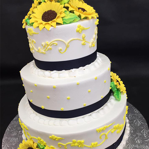 Buttercream Wedding Cakes And Desserts: Sunflowers Buttercream Custom Wedding Cake
