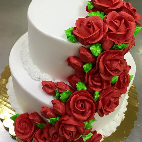 Buttercream Wedding Cakes And Desserts: Buttercream Red Roses Wedding Cake - Gourmet Desserts